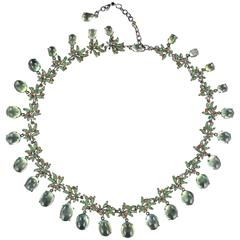 Orange Sapphire Prehnite Green garnet Darkened Silver Necklace