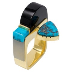 2018 Richard Chavez Jade, Turquoise and Gold Inlay Ring