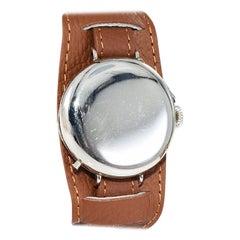 JW Benson Nickel Silver WW I Trench Watch with Original Enamel Dial, Circa 1915