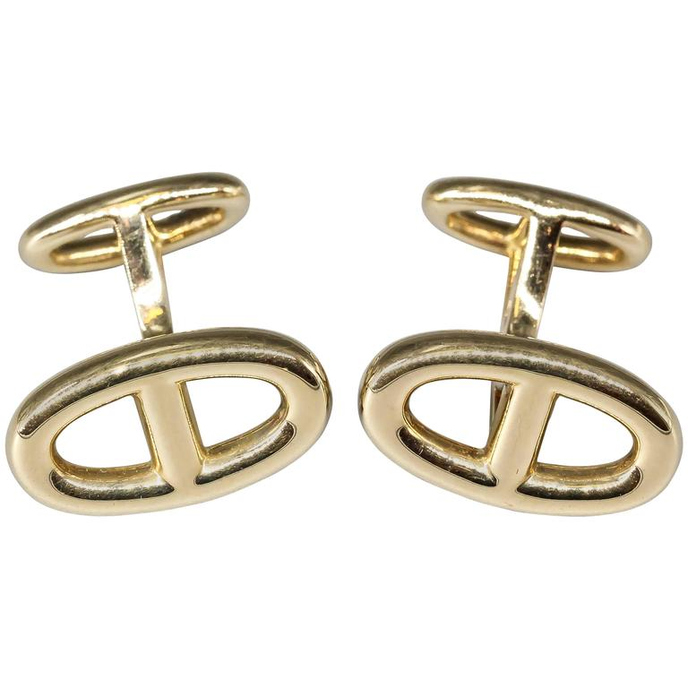 Hermes Le Havre Gold Ellipse Shaped Cufflinks For Sale