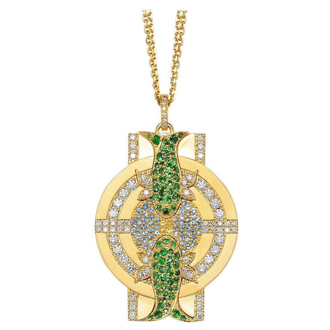 Jazychic Zodiac Pendant 18k Gold, Diamonds, Sapphires, Aquamarines, Tsavorites