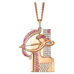 Sagittarius Zodiac Pendant 18k Gold 1.14 Ct Diamonds 0.81 Ct Pink Sapphire