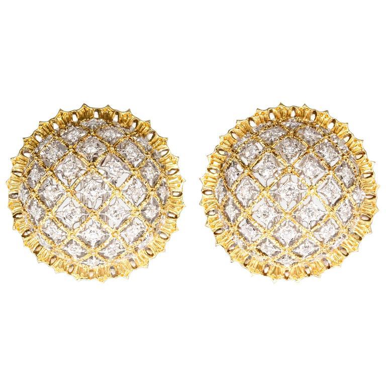 Buccellati Large Diamond Gold Dome Earrings For Sale