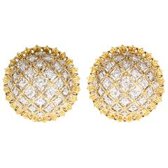 Buccellati Large Diamond Gold Dome Earrings