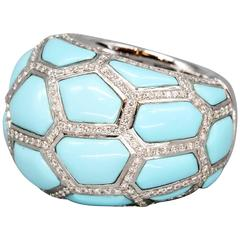 de Grisogono Turquoise Diamond Gold Dome Ring