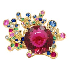 Rubelite 'Red Tourmaline', Colour Sapphire and Diamond Cocktail Ring