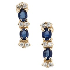 2.00 Carat Blue Sapphire Diamond Yellow Gold Dangle Earrings