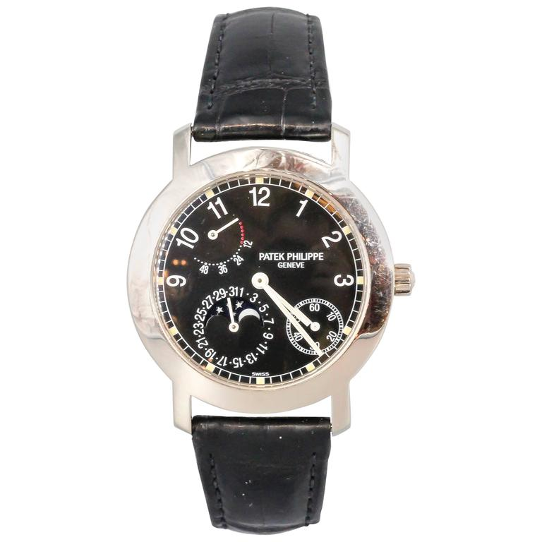 Patek Philippe White Gold Moon Phase Black Dial automatic Wristwatch ref 5055G For Sale