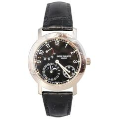 Patek Philippe White Gold Moon Phase Power Reserve Black Dial Wristwatch