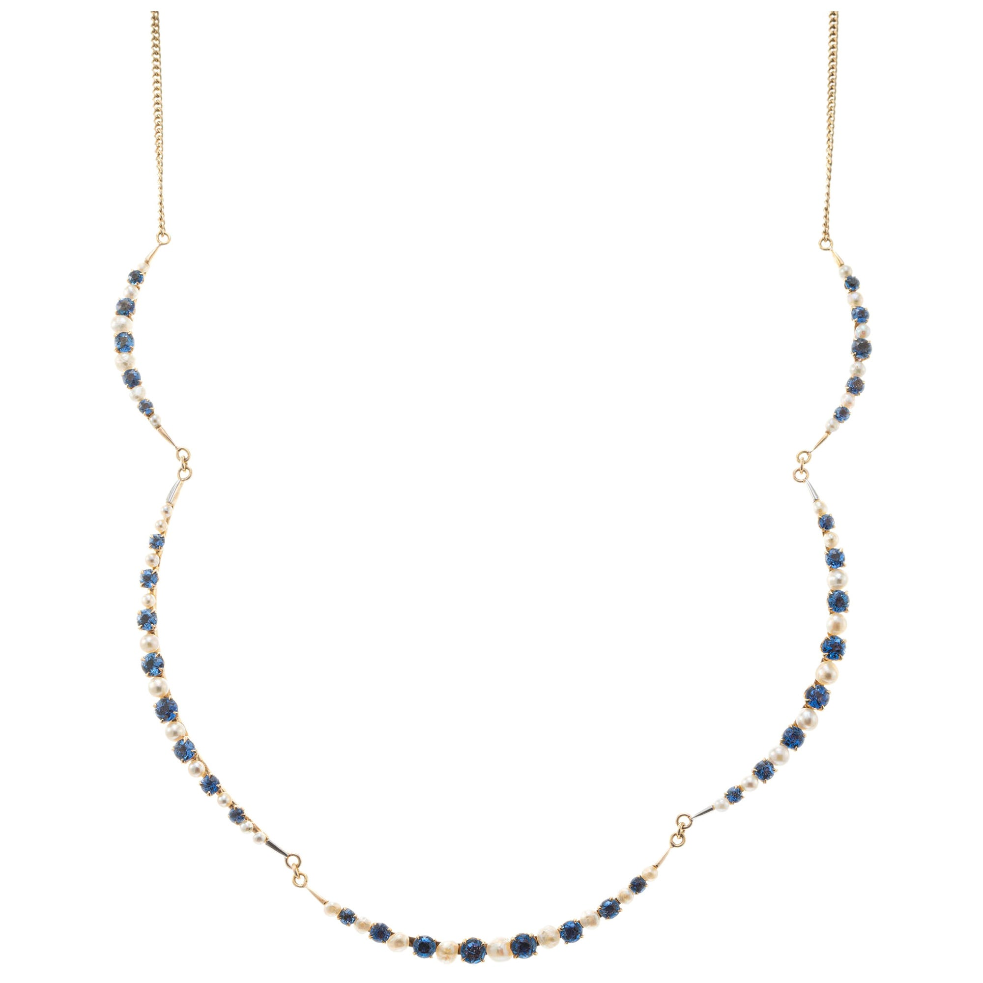 GIA Certified 4.25 Carat Blue Sapphire Pearl Yellow Gold Necklace