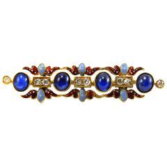 Victorian Holbeinesque Sapphire Diamond Brooch