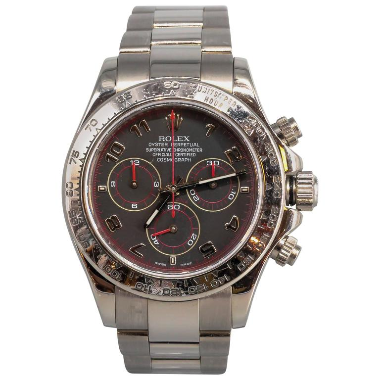 Rolex White Gold Cosmograph Daytona Z Series Black Dial Automatic Wristwatch