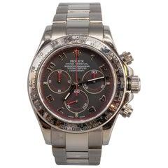 Rolex White Gold Cosmograph Daytona Z Series Black Dial Automatic Wristwatch
