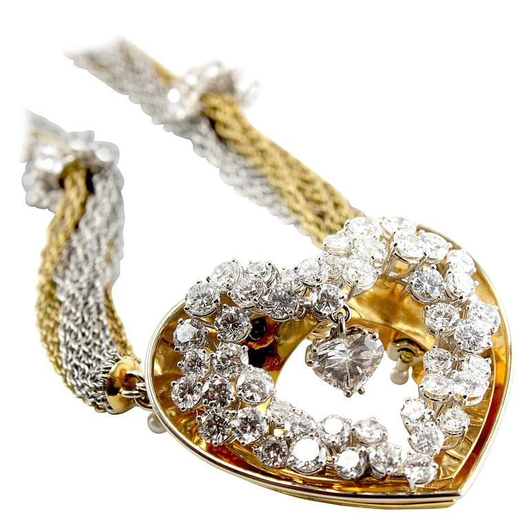 ME Riedel Diamond Gold Heart Pendant Necklace For Sale