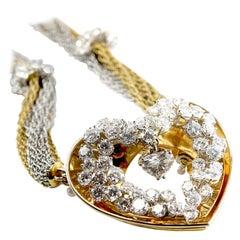 ME Riedel Diamond 18K Yellow Gold Heart Pendant Necklace