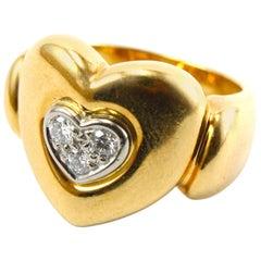 Diamond 18 Karat Yellow Gold Heart Ring