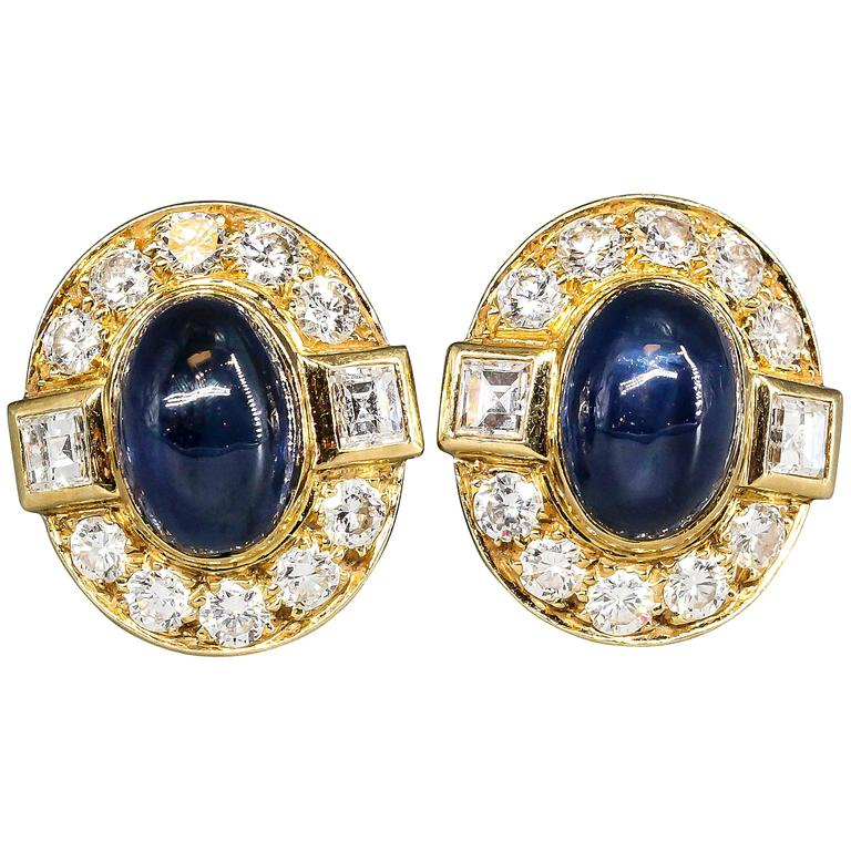 Cartier Paris Cabochon Sapphire Diamond Gold Earrings For Sale