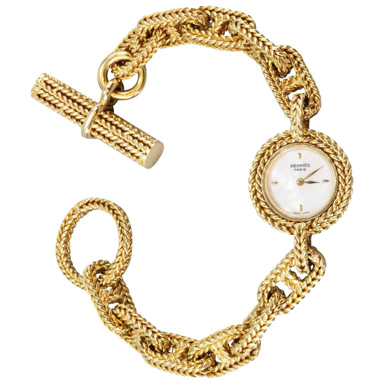 Hermes Ladies Yellow Gold Chaine D'Ancre Toggle Link Quartz Wristwatch 1