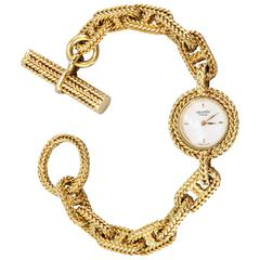 Hermes Lady's Yellow Gold Chaine D'Ancre Toggle Link Quartz Wristwatch