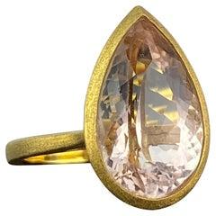 8.9 Carat Pear Shape Morganite Engagement Ring