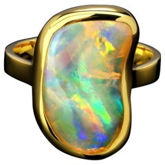 Opal Crystal Pipe Gold Ring Salvador Dali Style Jewelry Natural Iridescent Stone