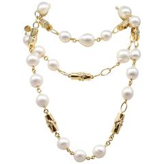 Verdura Bamboo South Sea Pearl Diamond Gold Necklace and Bracelet Combination