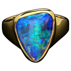 Opal Yellow Gold Ring Daenerys Style Natural Opal Crystal Pipe Luminous Stone