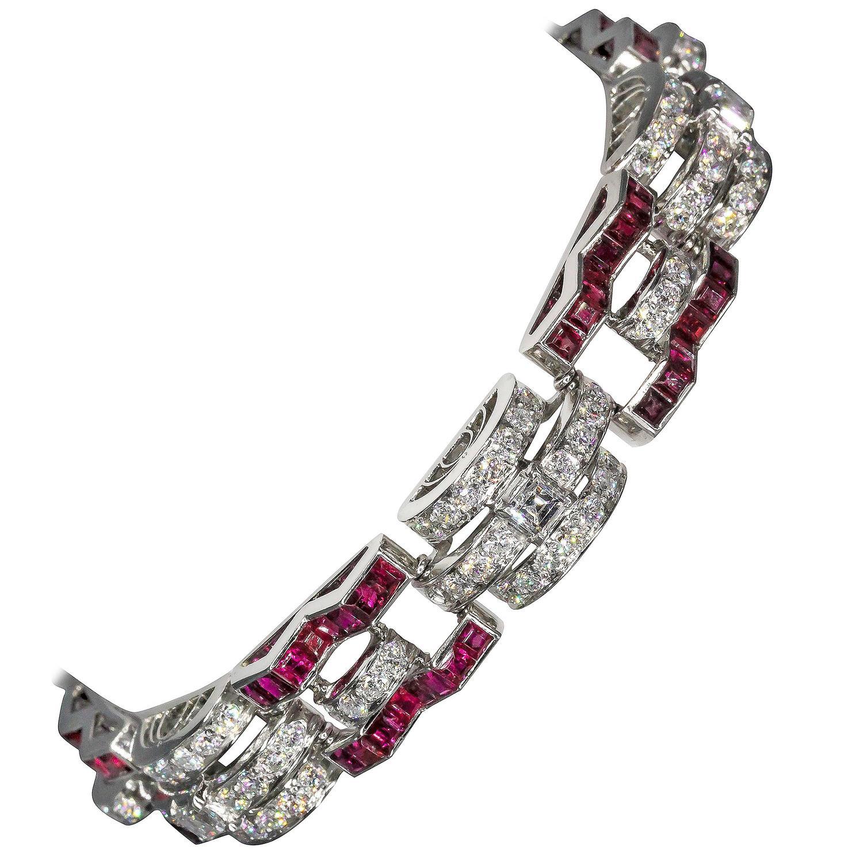 Oscar Heyman Art Deco Ruby Diamond Platinum Bracelet For ...