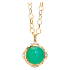 Syna Yellow Gold Chrysoprase Pendant with Champagne Diamonds