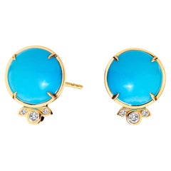 Syna Yellow Gold Sleeping Beauty Turquoise Earrings with Champagne Diamonds