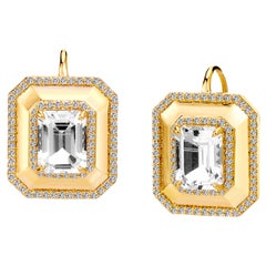 Syna Yellow Gold Earrings with Rock Crystal and Champagne Diamonds