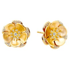 Syna Yellow Gold and Champagne Diamonds Flower Earrings