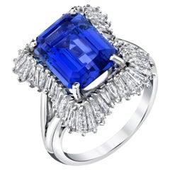 4.89 Carat Emerald Cut Tanzanite, Diamond Baguette Cocktail Platinum Ring