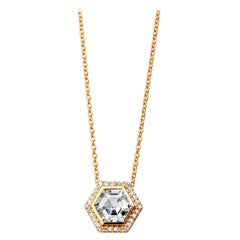 Syna Yellow Gold Rock Crystal Hex Necklace with Champagne Diamonds