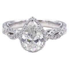 GIA Certified 1.50 Carat G VS1 Pear Shape Diamond Verragio Engagement Ring