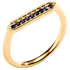 Syna Yellow Gold Hex Ring with Sapphires
