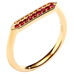 Syna Yellow Gold Hex Ring with Rubies