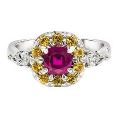 Unheated Ruby & Sapphire Ring, 18k White Gold  Ruby Sapphire & Diamonds Ring