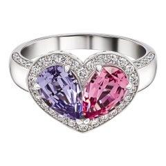 Pink & Blue Spinels Love Ring, 18k White Gold Pink & Blue Spinels Diamonds Ring