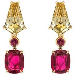 Gold Tourmaline Rubelite & Spinels Earrings, 18k Yellow Gold Earrings