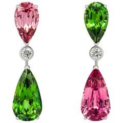 Spinel & Chrome Tourmaline Earrings, 18k White Gold Diamonds Earrings