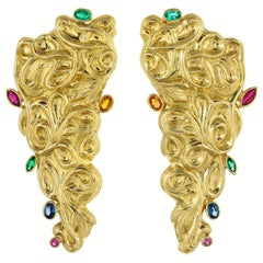 Ruby, Sapphire and Emerald Hand Chiseled Yellow Gold Dangle Earrings