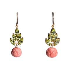 Diamond, Peridot and Coral Dangle Drop Earrings