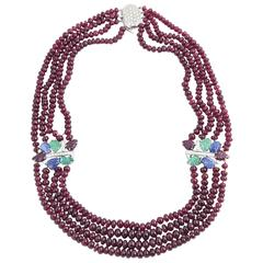 Ruby Bead Necklace with Tutti Fruiti Emerald Diamond Sapphire Ruby Gold Spacers