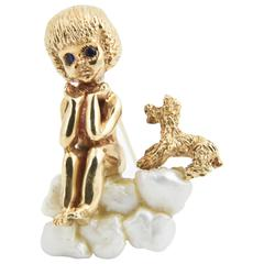 Ruser / VCA Wednesday's Child Sitting with Puppy Dog on Pearl Gold Brooch