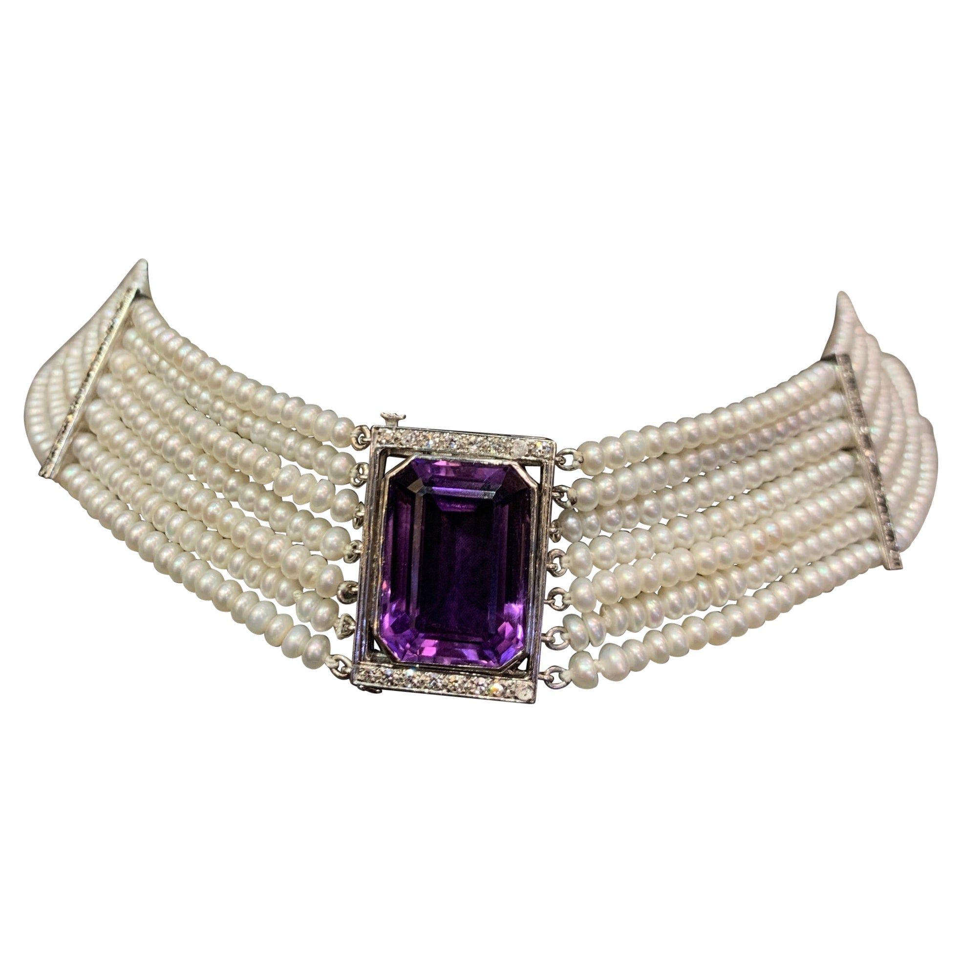 Pearl Multi Strand & Amethyst Choker Necklace