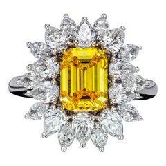 GIA Certified Floral 2.01 Carat Emerald Fancy Vivid Yellow Diamond Ring