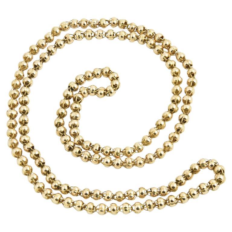 Antique Long Georgian Handmade Open Bead Gold Chain Necklace
