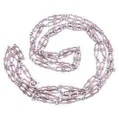 C1780 Georgian Sterling Muff Chain Made Up of Bow Links