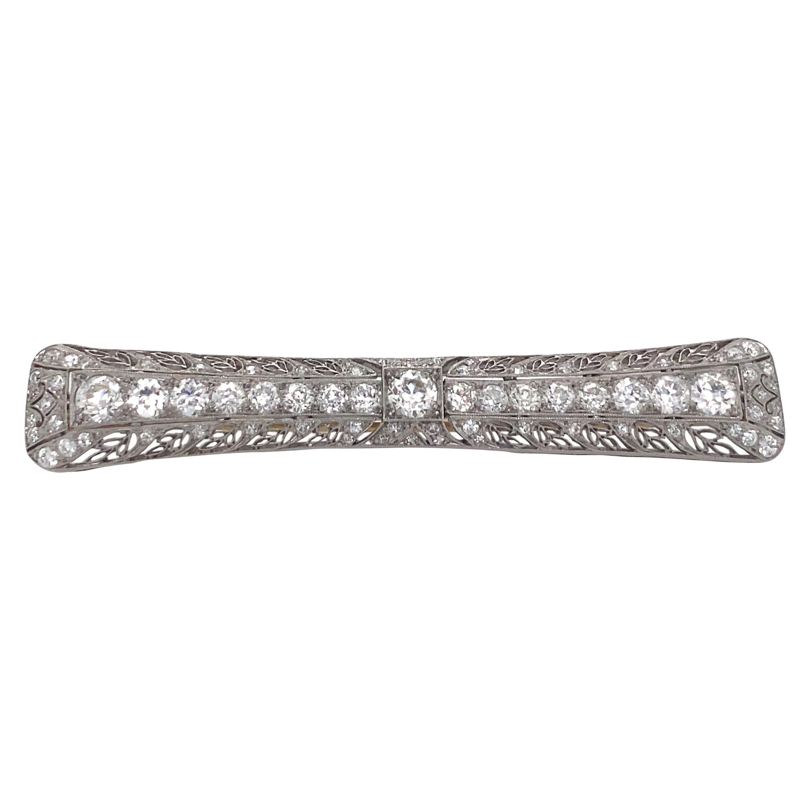 Tiffany & Co. Platinum Diamond Art Deco Bar Pin Brooch